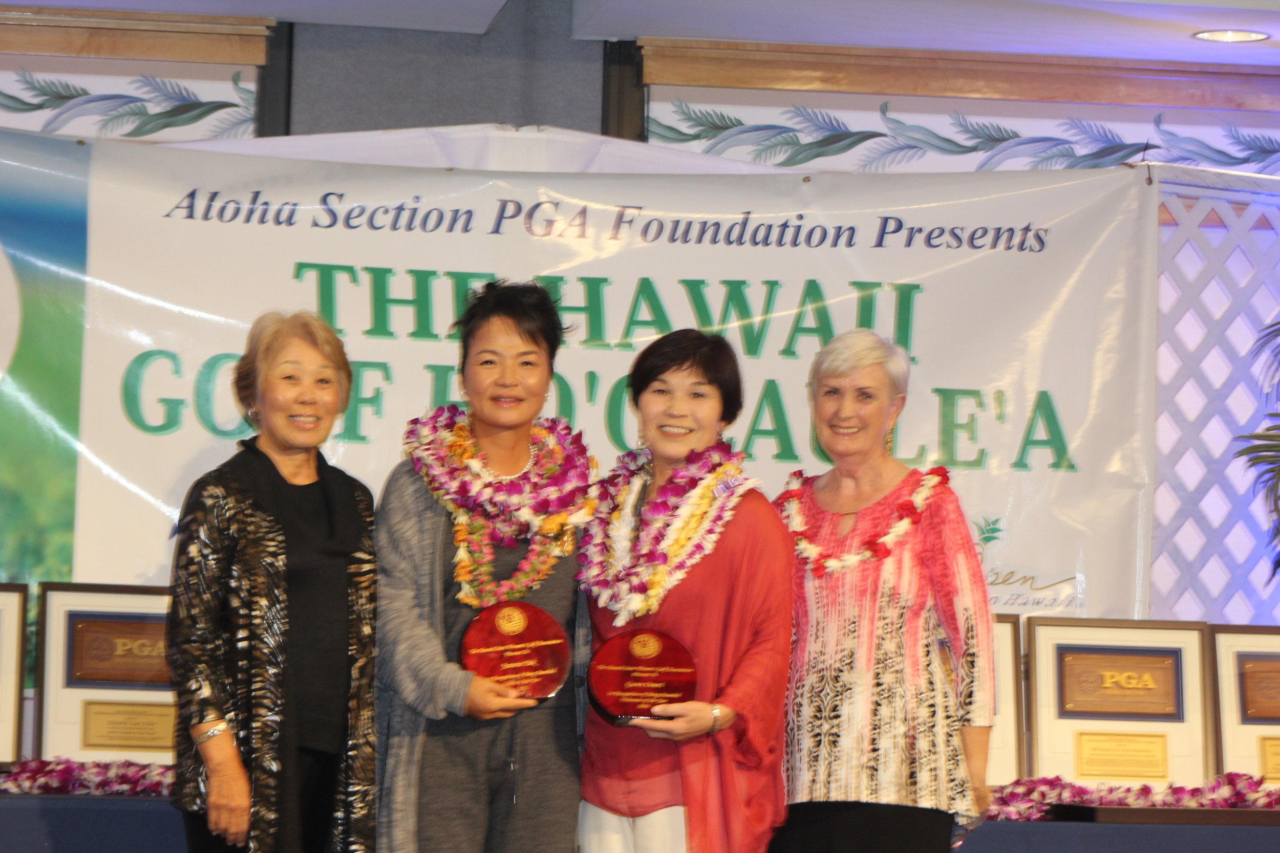 Susan Church (HSWGA VP), Jeannie Pak, Gwen Omori, Barbara Schroeder (HSWGA Pres.)