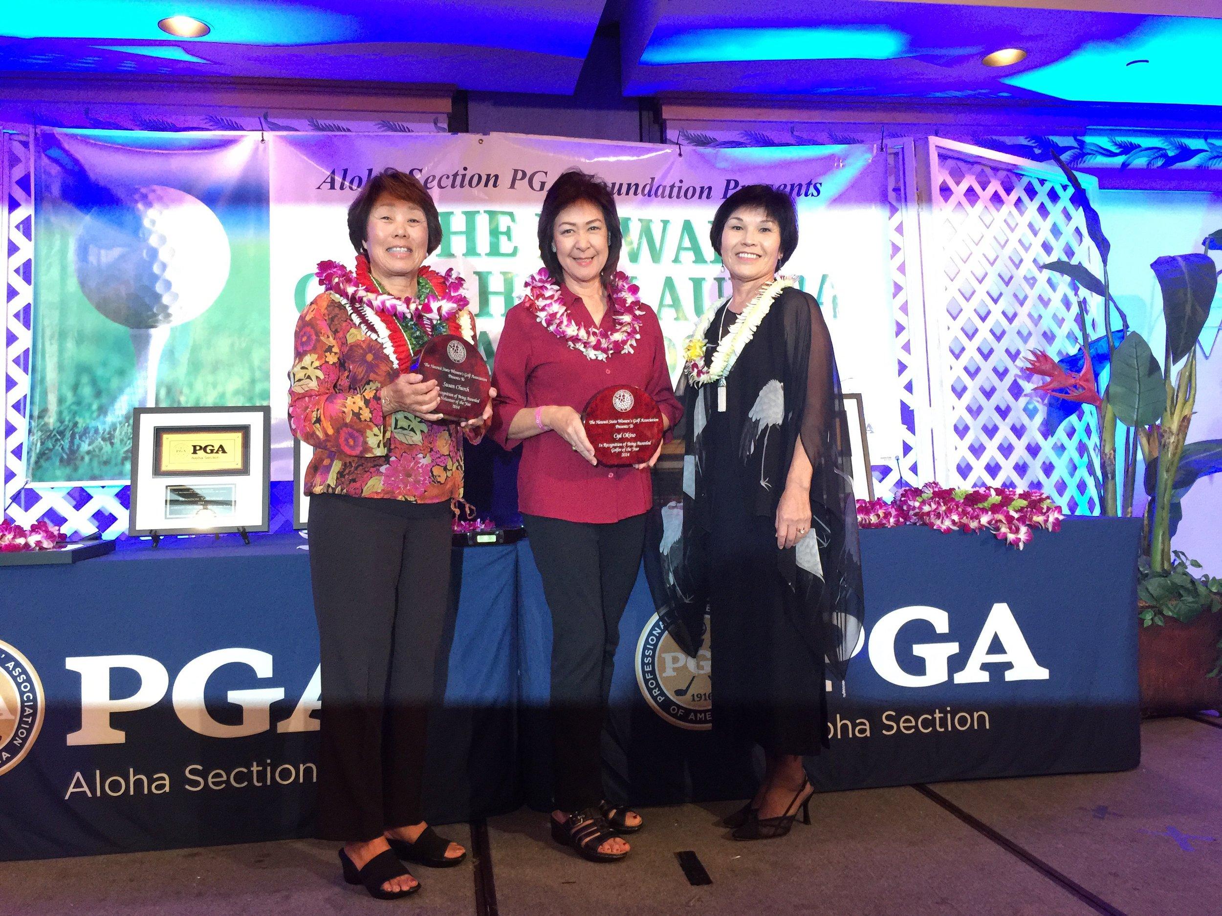Susan Church, Lori Okino (Cyd's Mom) and Gwen Omori (HSWGA Pres.)