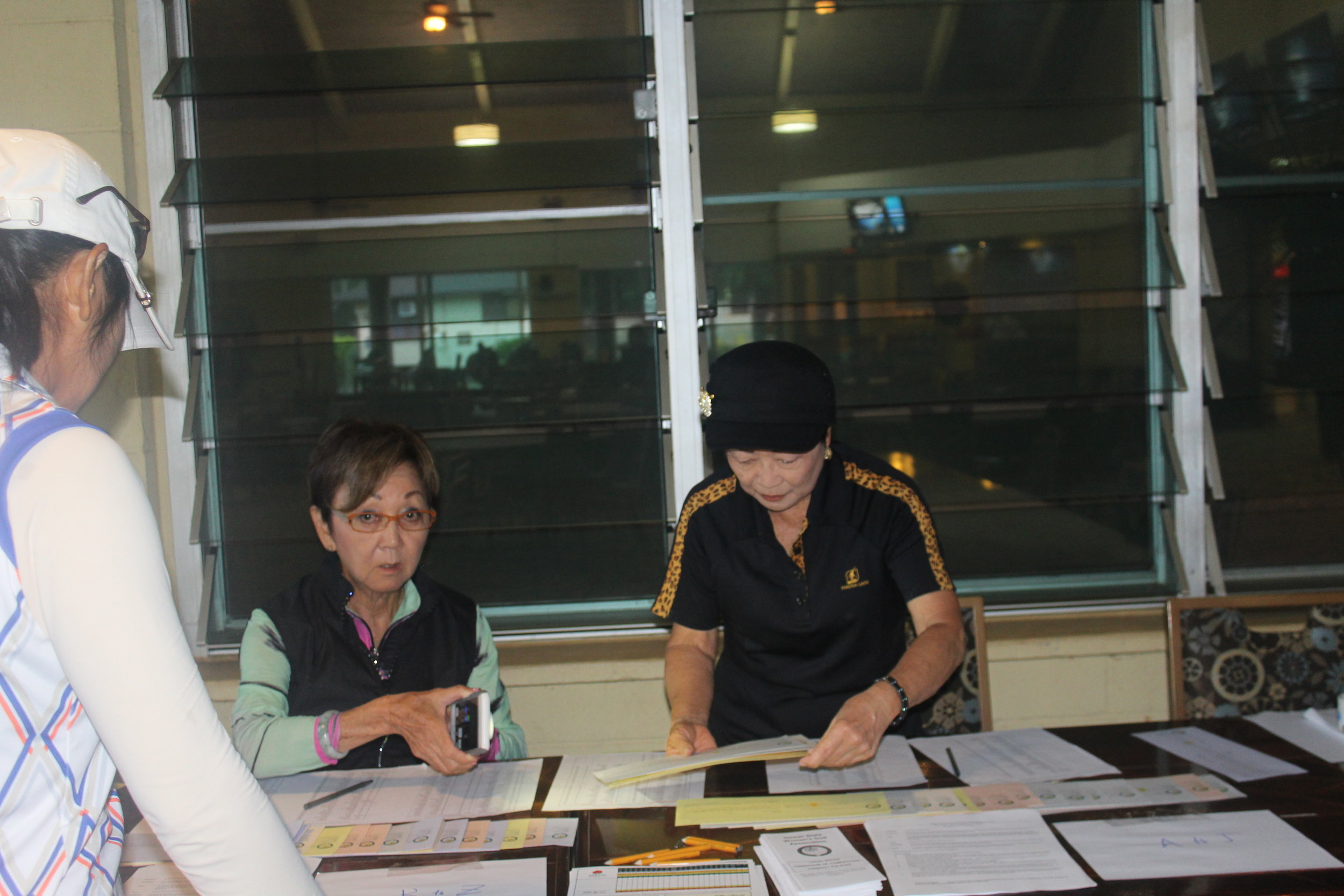 Registration desk with Diane Kawashima and Sheila Kim