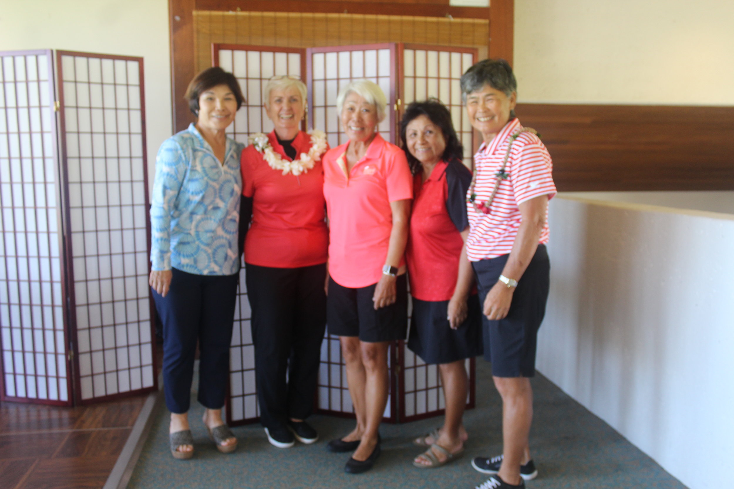 Some of our HSWGA board members:  (left to right) Gwen Omori, Barb Schroeder, Susan Church, Jeanette Takahashi, and Bev Kim. (missing: Kathy Ordway, Shera Hiam, Susan Fujiki, and Val Vares)