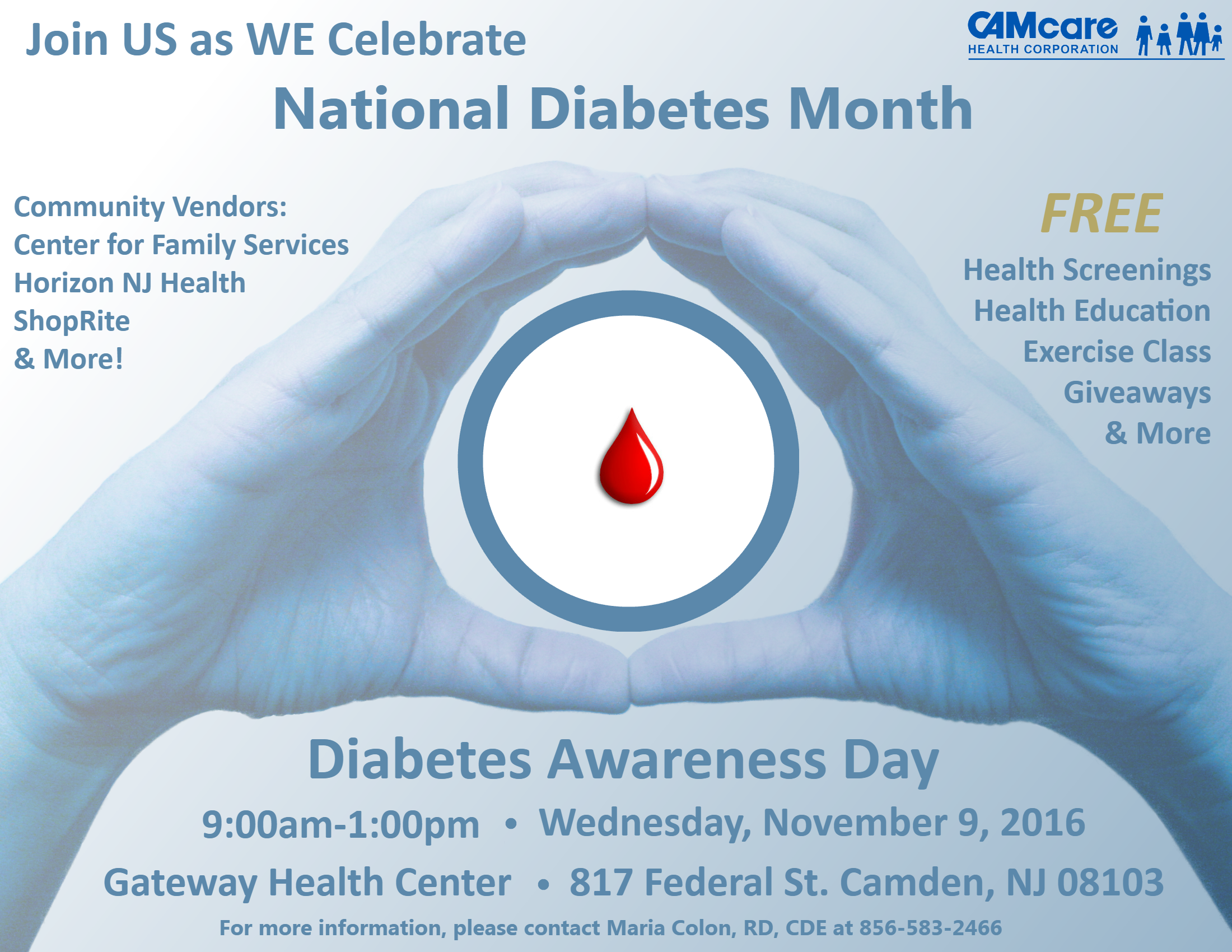 Please Join CAMcare for our annual Diabetes Awareness Day!