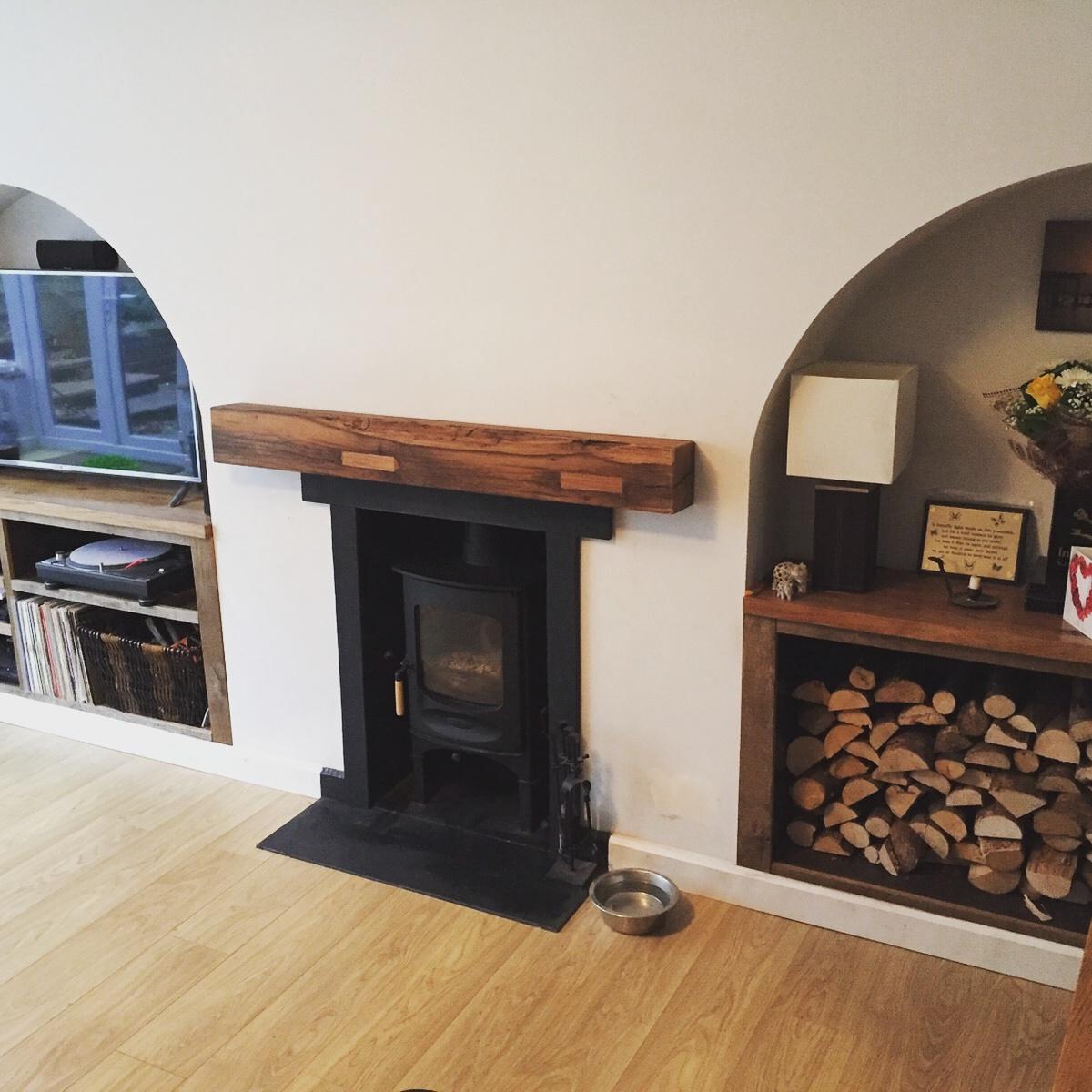 Reclaimed Oak Sawn mantel
