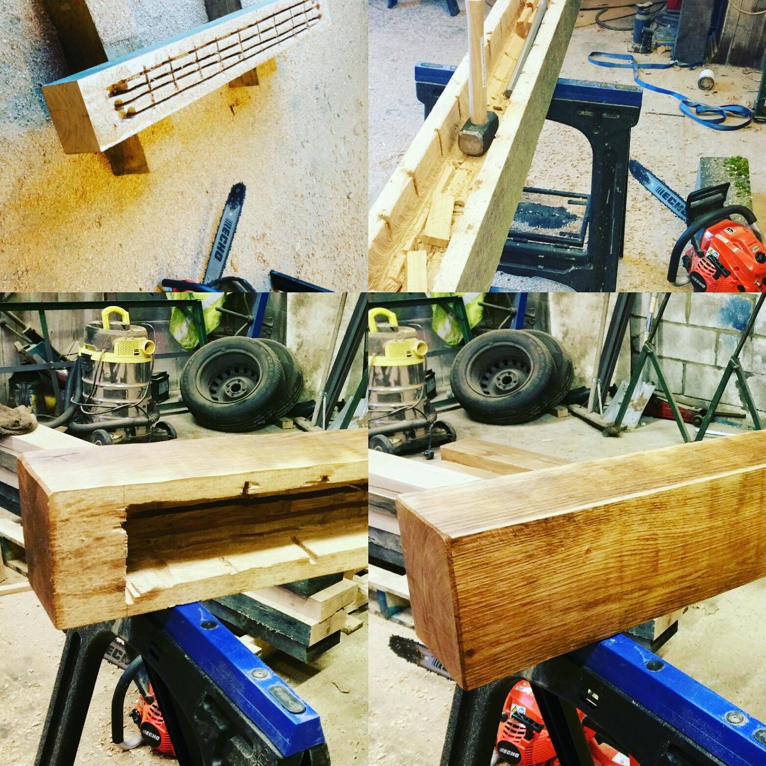 Oak fireplace beam casing