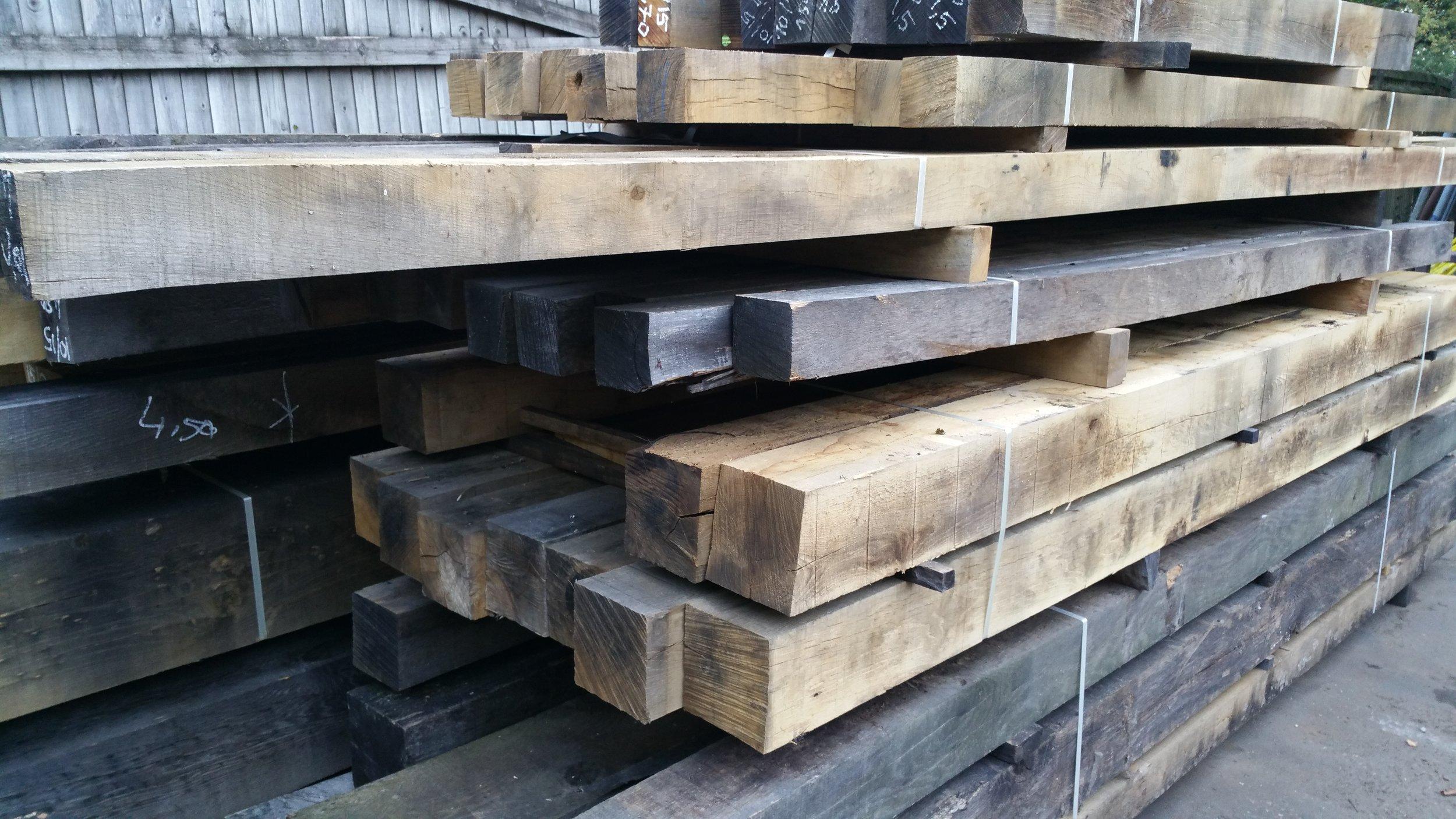 Air dried oak beams in varying sizes