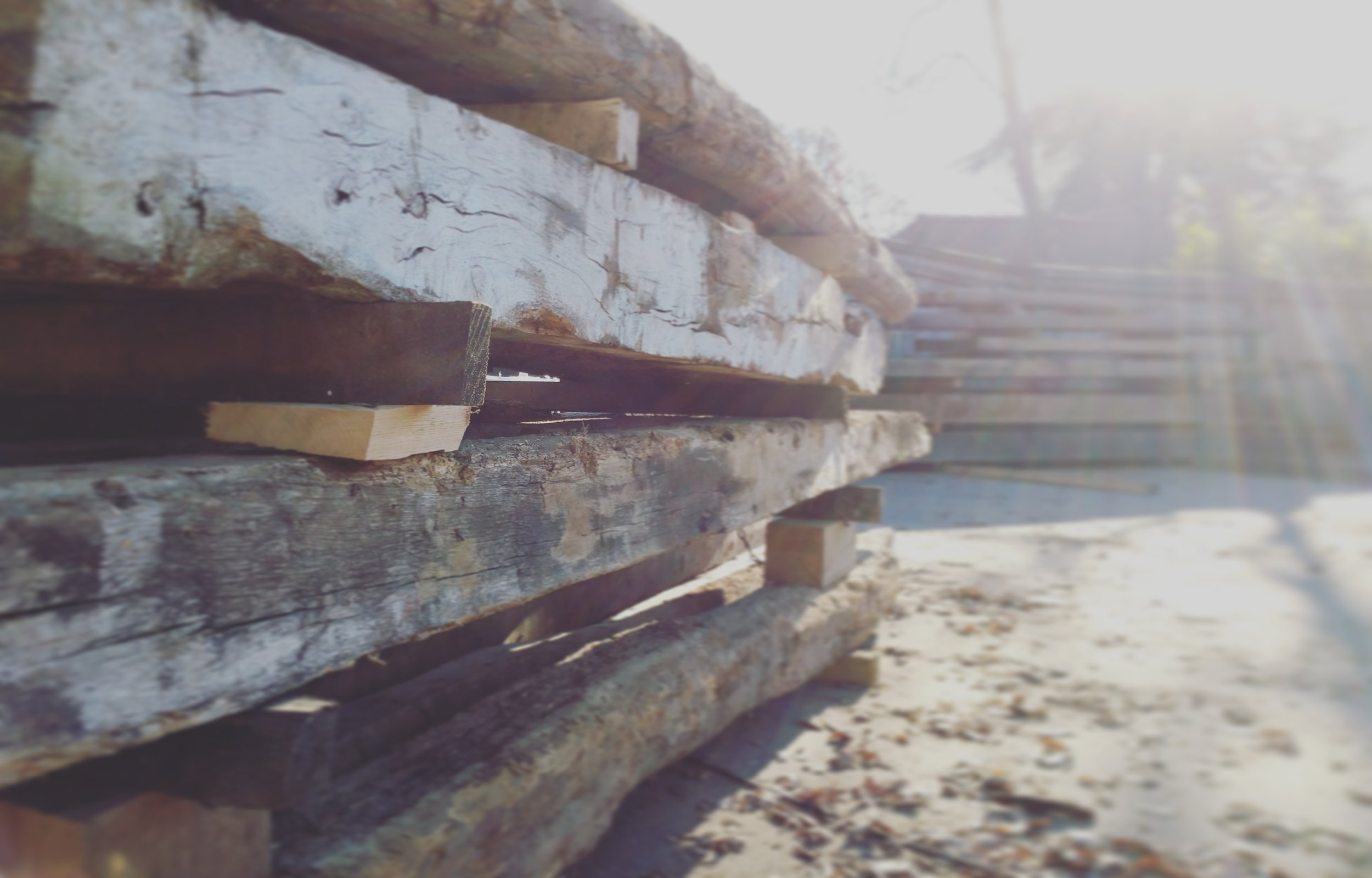 Reclaimed old oak beams
