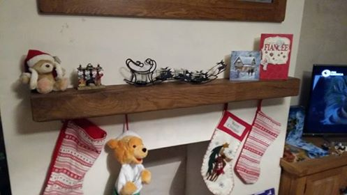 One of our Oak mantels at Christmas