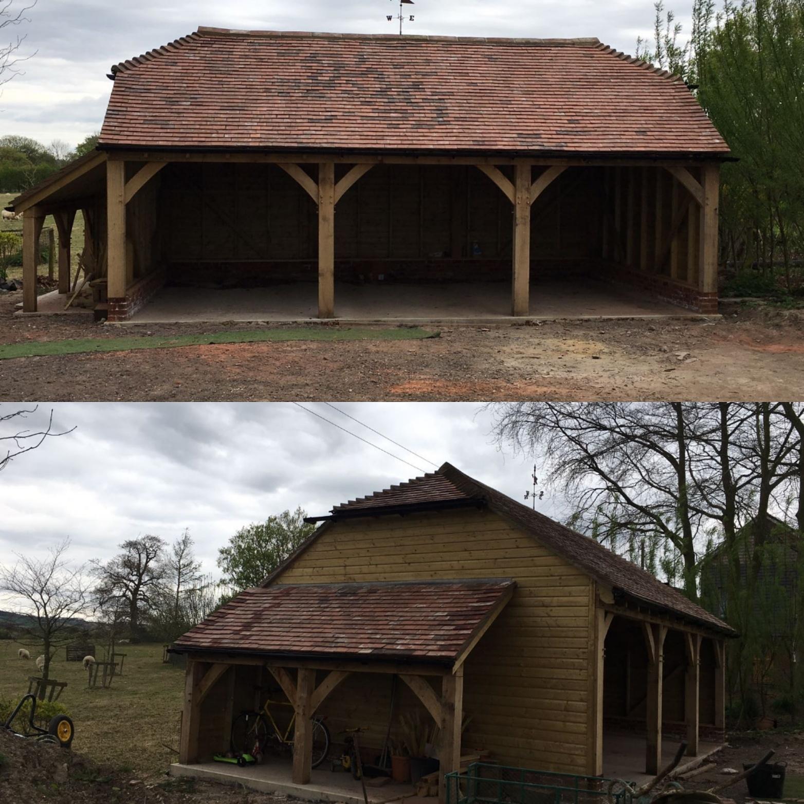 Oak framed garage with log store