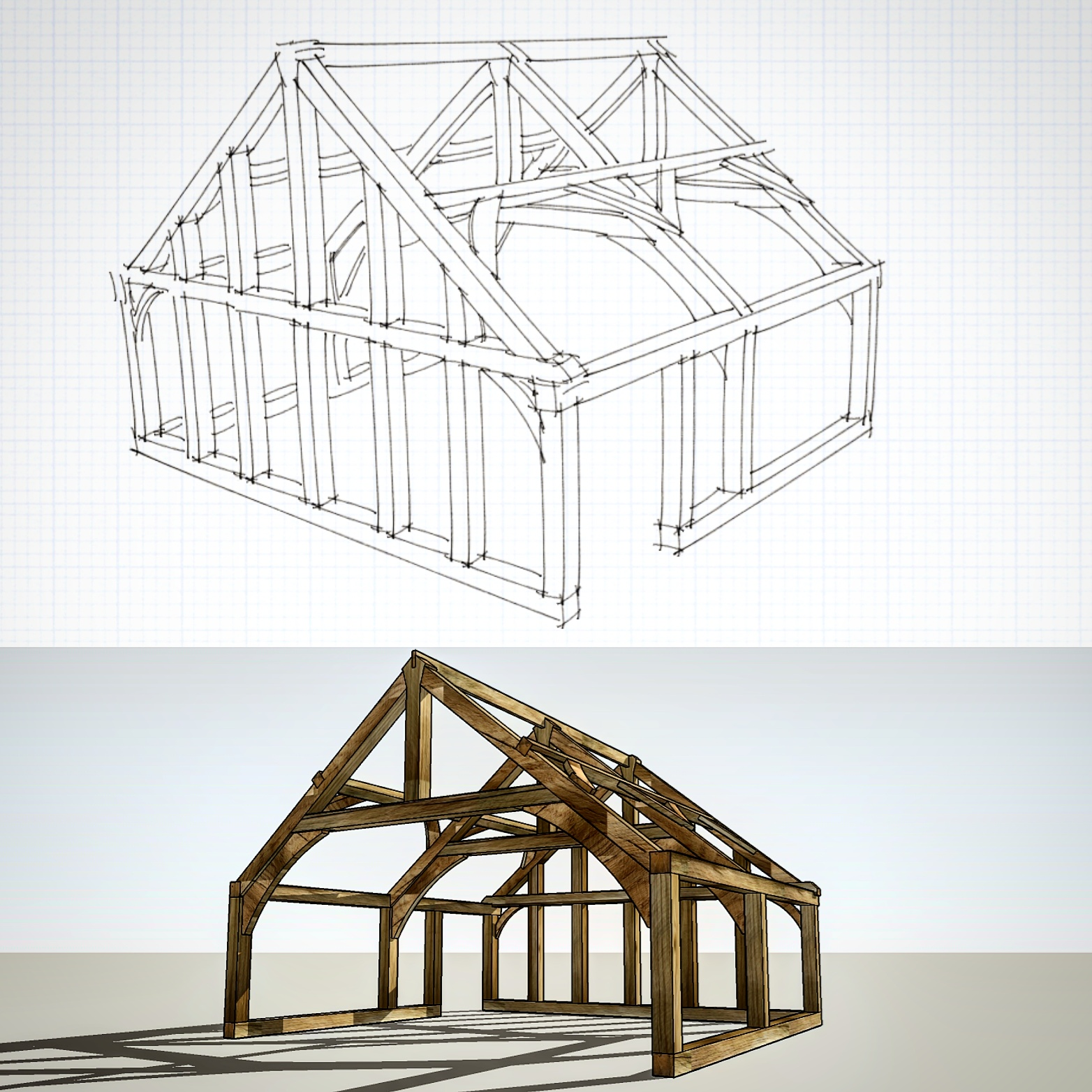Here you see the oak frame design from basic sketch to finished article