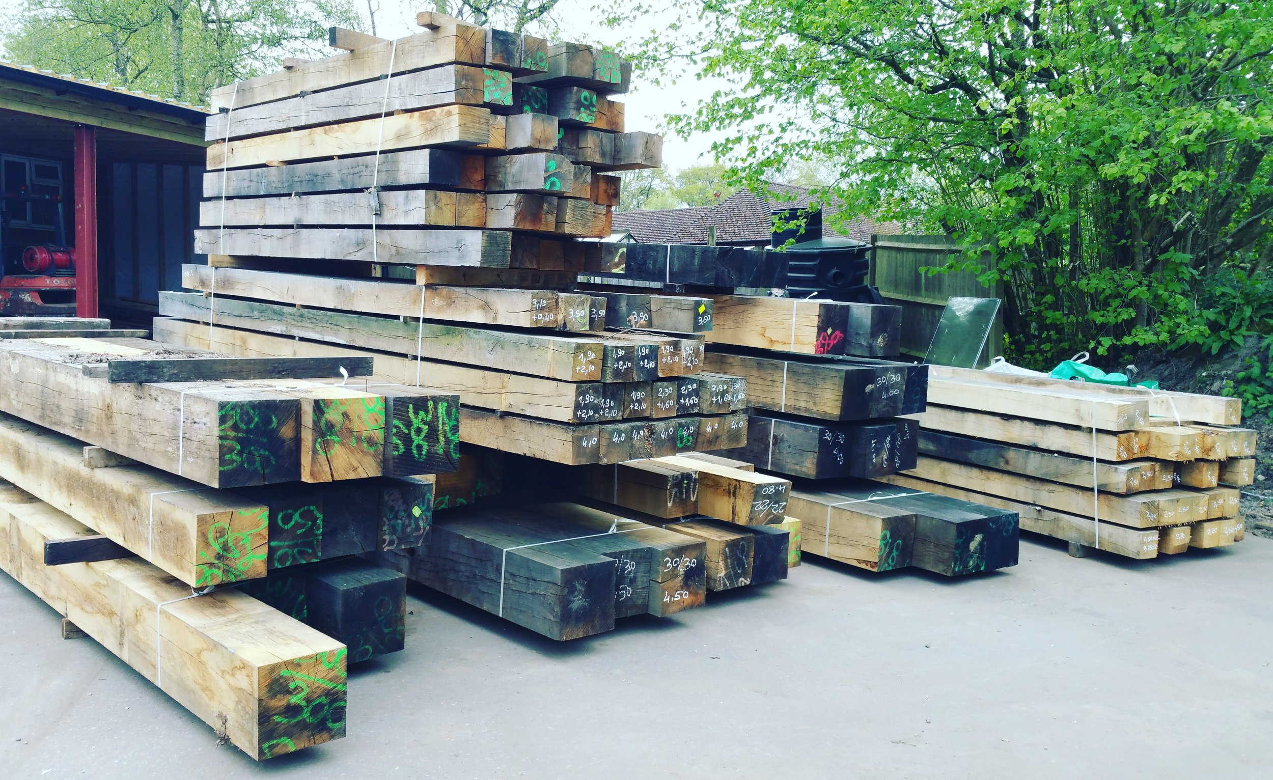 Air dried oak beams