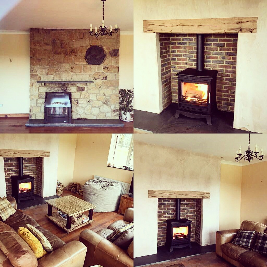 One of our beautiful rustic oak mantels installed really makes the room
