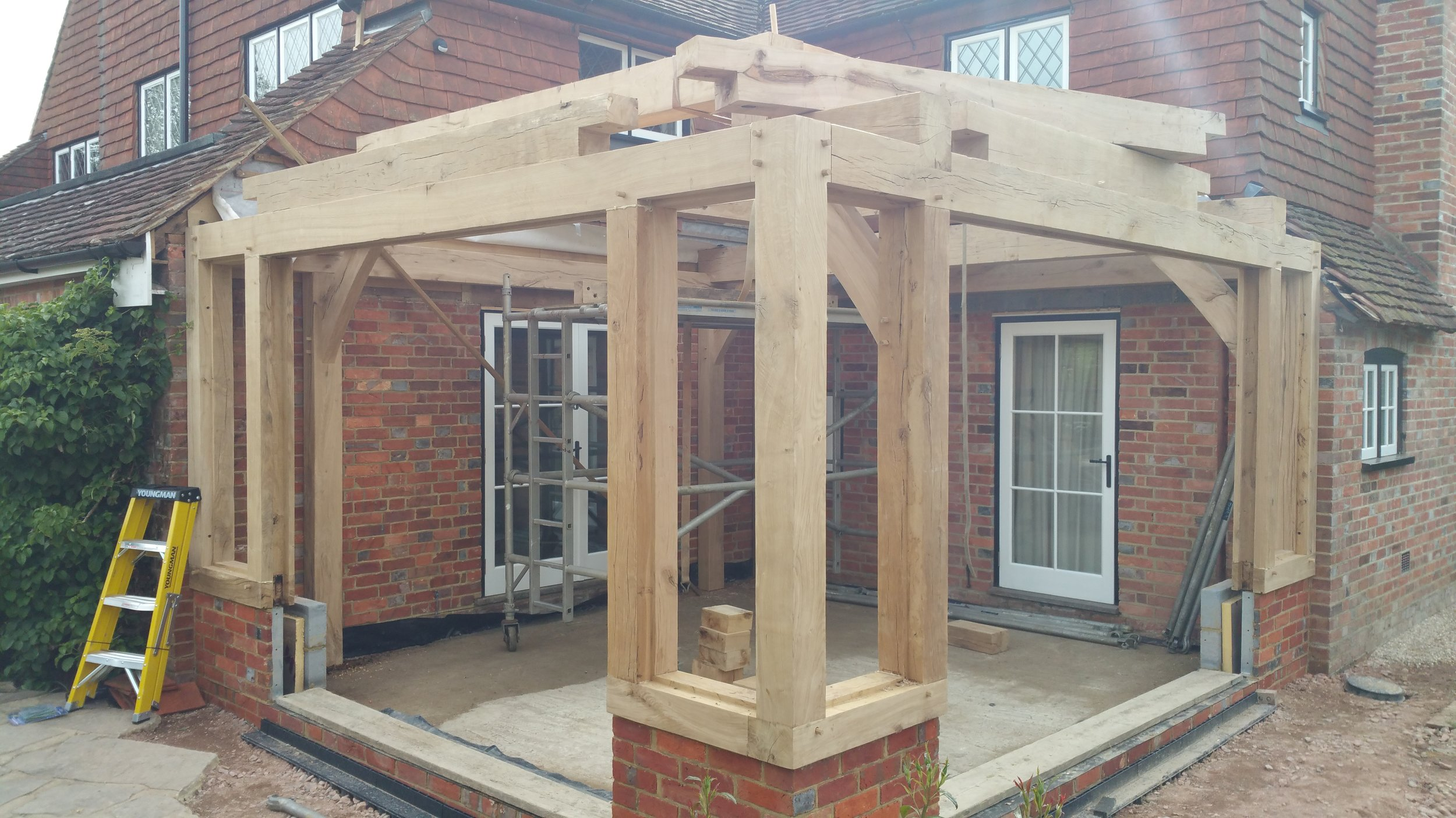 This sun room was designed by the client himself. He wanted it made fro air dried oak so he could have the glazing fitted directly to the frame