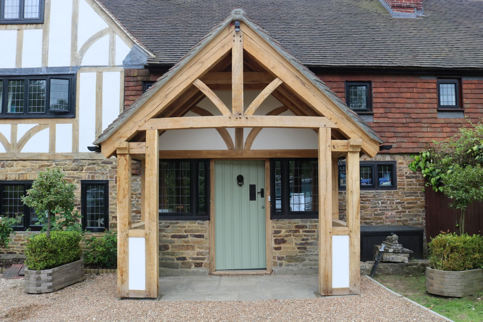 The same oak porch finished and istalled