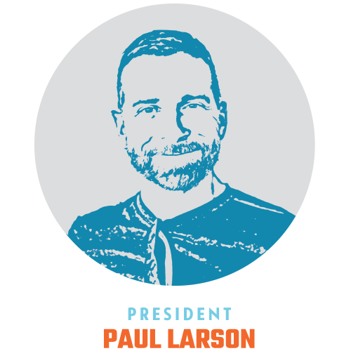 Paul Larson President   I came into the arts world in high school via theater and choir. 2004 marked the start of my work in the arts professionally, supporting arts and culture across the country via fundraising and marketing. I'm numbers driven, and the passion for having a hand in helping to grow the financial stability of our clients keeps me going.  Outside of Blueprint, I love swimming, biking, my dog Ivan, real estate projects and travel.
