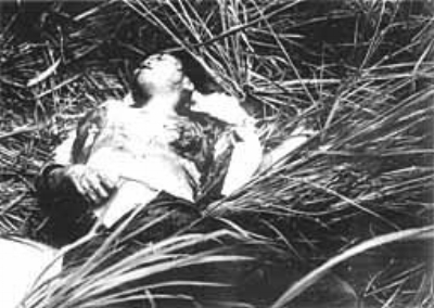 A woman lays dying after being shot and having her breasts cut off by the US Marine's 2nd Brigade during the massacre at Phong Nhi, Vietnam on February 12, 1968. No investigation ever occurred and nobody was ever prosecuted.