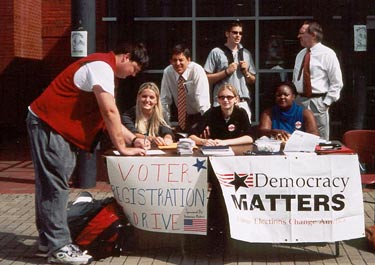 Voter registration activists tabling.