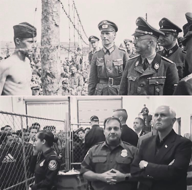 """What connects the two photos is not an exact parallel in action but a parallel in attitude and the belief, shown through action, that the people in these cages are not human. The US isn't treating these men like fellow human beings. They are treating them like animals, stripping them of their humanity in order to further the propaganda that they are not human beings. Don't believe the propaganda. The way you get from 'not killing' to 'killing' is by dehumanizing. Thinking of, and speaking of human beings as """"illegal"""" is a first step toward dehumanization.  Asylum is what we promised the world, and ourselves, after WWII."""