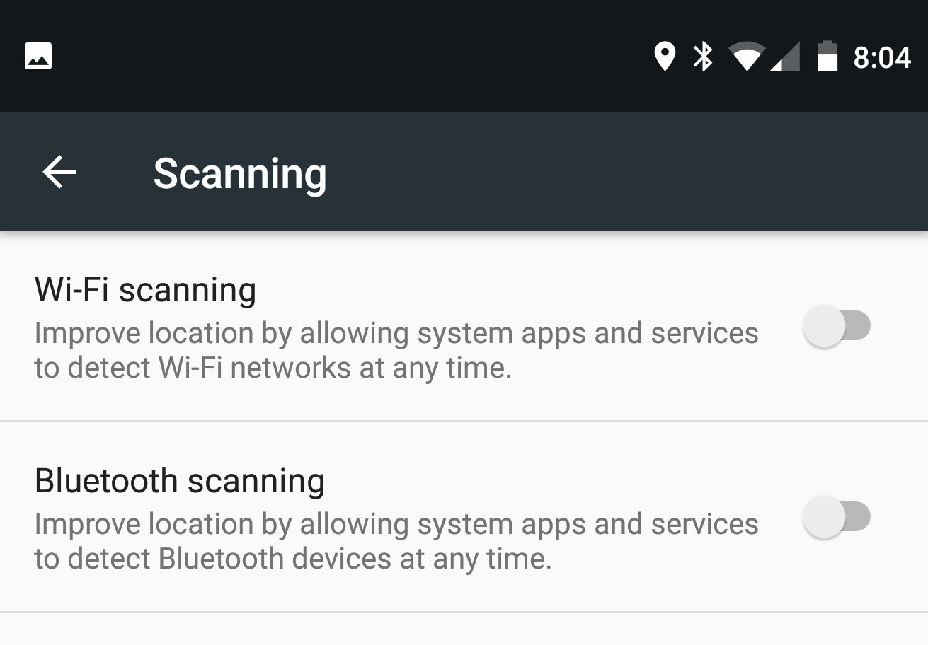 - Don't enable either WiFi or Bluetooth scanning. This is only used for A GPS, which doesn't have enough precision for recording a location track in CycleBike Smart. And it probably drains the battery.