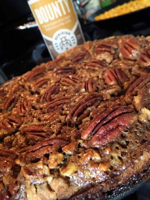 Pecan Pie next to a bottle of Bounty Mead