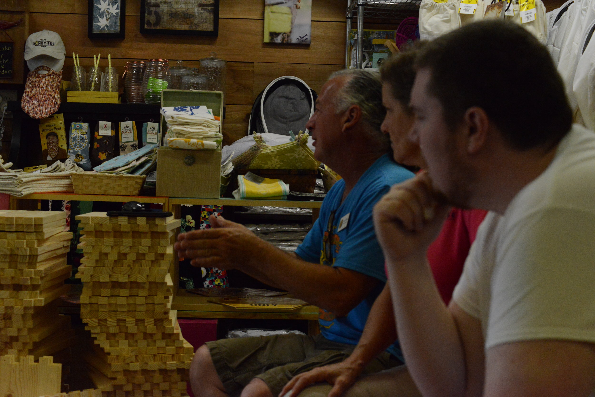 Chuck (in blue) giving us a great bee lecture