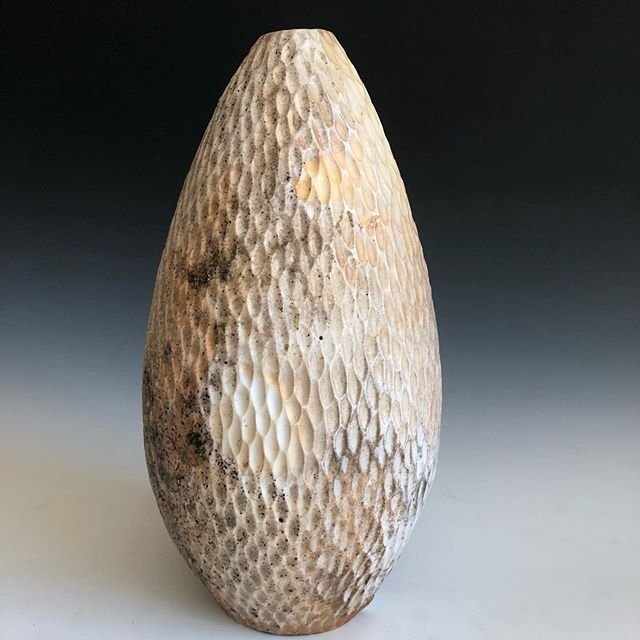 One of my favorite, and also one of the largest, dragon eggs.  When I started wood firing I never knew I could get such subtle surface with so much variation.  So much happening in a quite neutral pallet!  Also, check out my profesh looking photo set up! #porcelain #woodfiredpottery #dragonegg #motherofdragons
