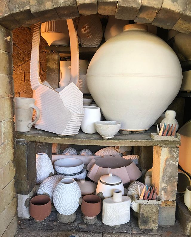 Loaded up and truckin. Happy to fire Gail the Snail this week. We sure are missing @dustinfowlerceramics !  Still have a great crew with @so.stoked.pottery  @mattwegleitner  @willdickertceramics  @juliancdreyer  @jcgreenenergypark #woodfiredceramics #woodfiredpottery #porcelain #dragoneggs #shinoshiyes #coneten #maybeconethirteen #wnc #wncpottery
