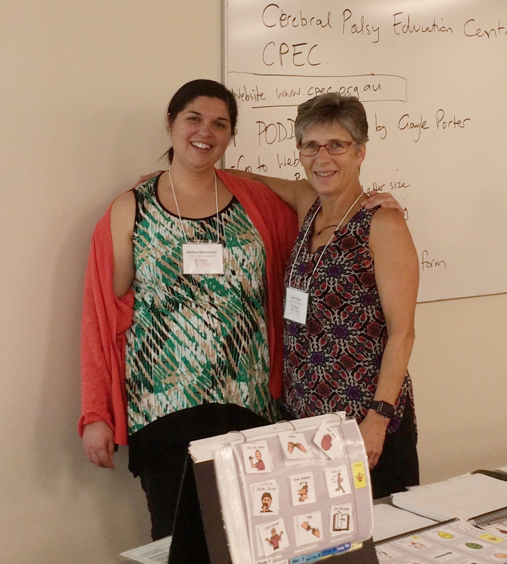 Laura with Melissa Riepsamen, CPEC speech therapist.