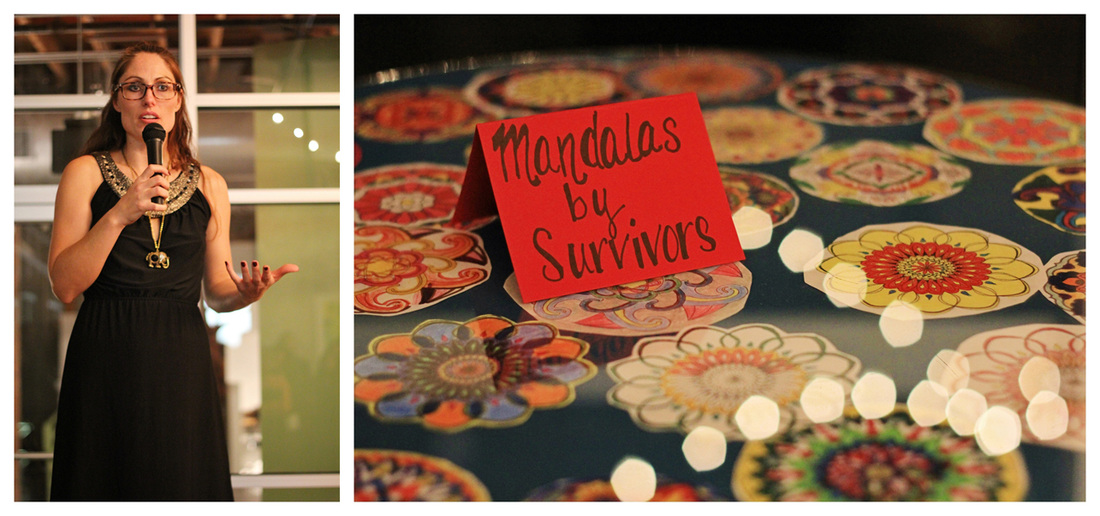 (Left) Laramie Boyd Gorbett, executive director and founder of Empower Art, describes a collaboration between RST and Empower Art. (Right) Mandalas made by survivors on display at the event. (All photos were provided by Carol Smith.)