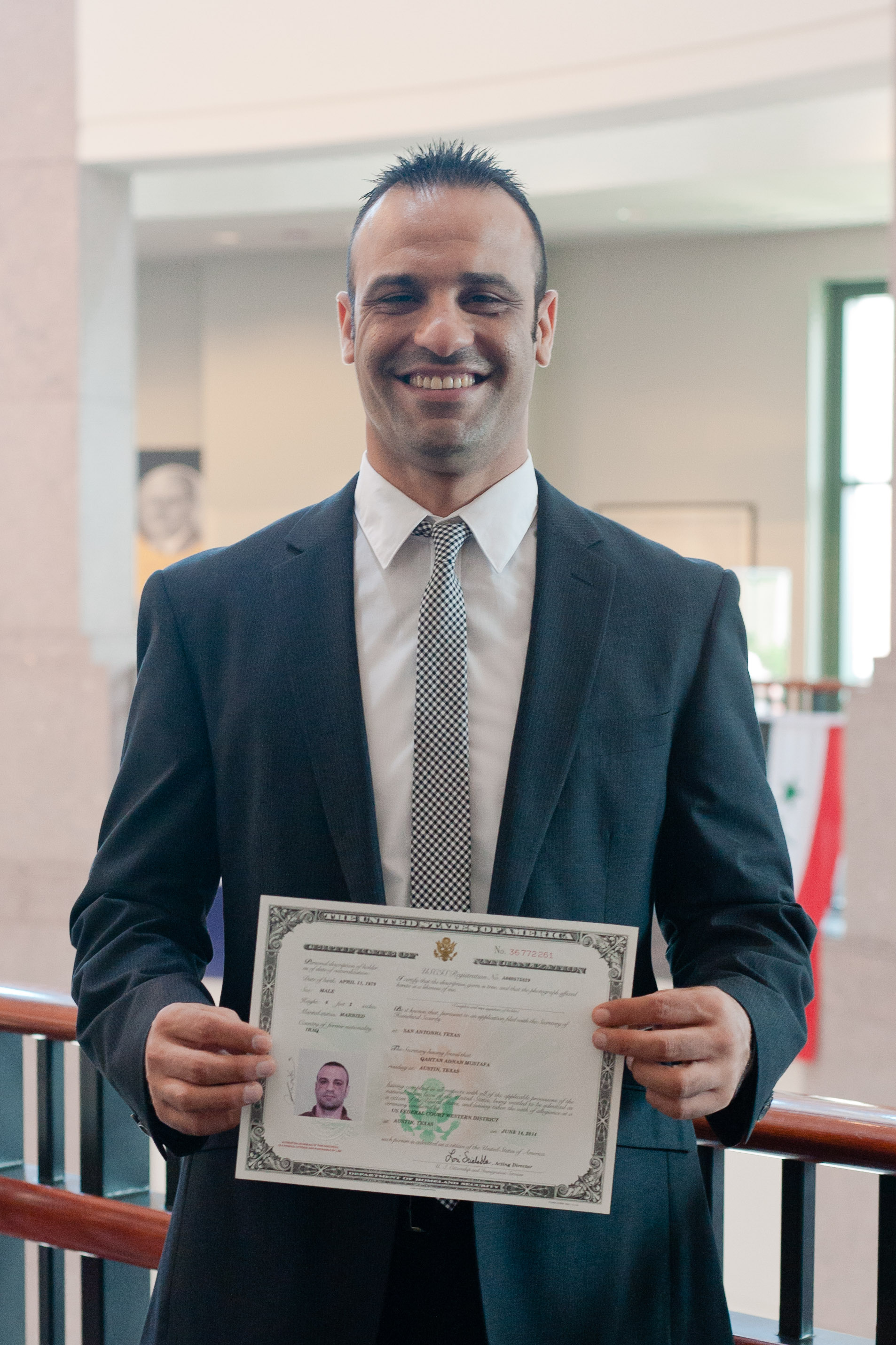 Qahtan swore his oath of citizenship in 2014