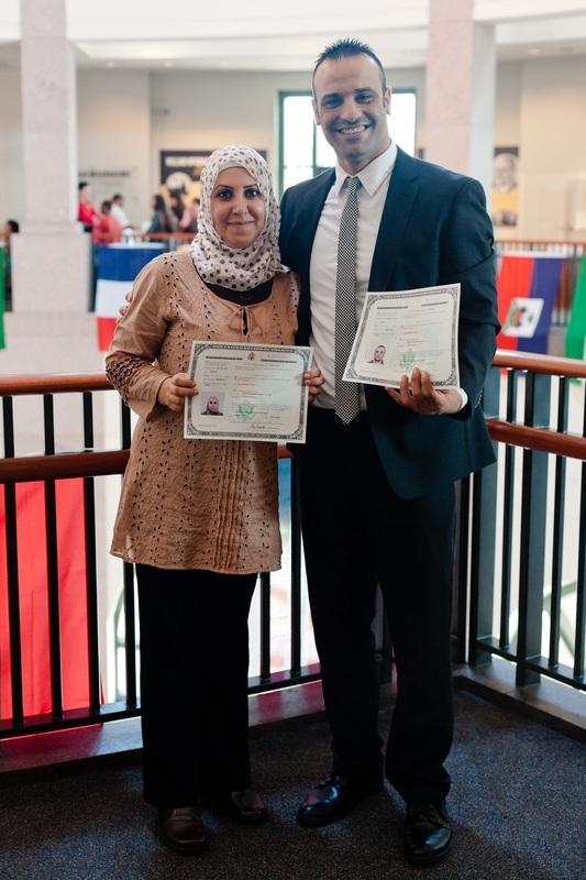 RST Austin Resettlement Supervisor Kahtan Mustafa with his wife Leen Al Taie