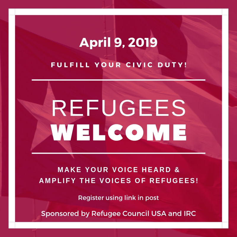 Advocate for Refugees in Texas with organizations from across Texas.    Learn more about the event  here.