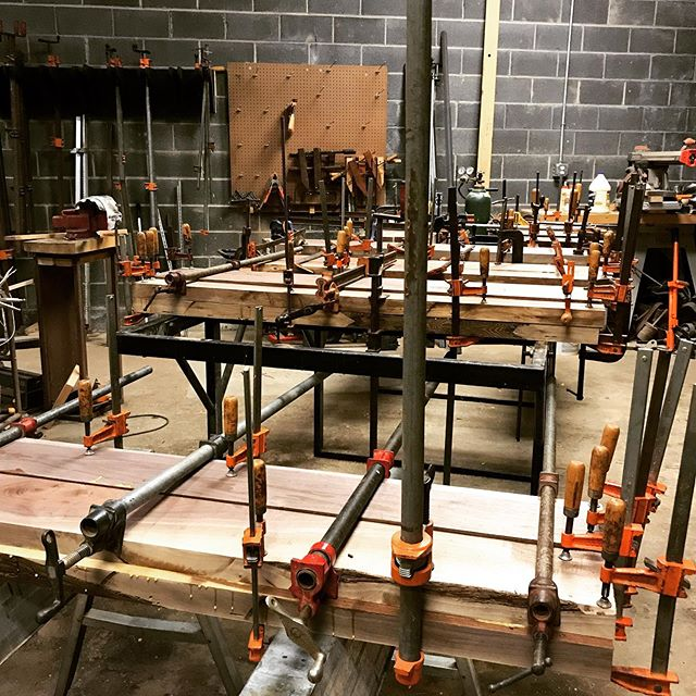 how many clamps are in this picture? #clampthatsuckerdown #customdesign #wood #glue