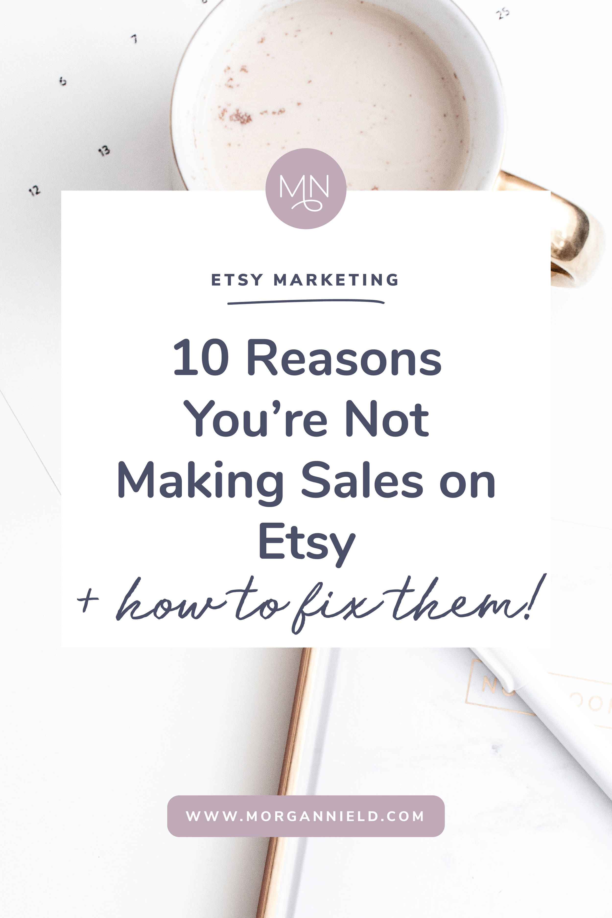 Making sales on Etsy is no walk in the park-- it takes a lot of work, discipline, and a keen eye to see what changes need to be made to increase sales. If you've stared at your shop until your eyes burned, maybe it's time to step back and figure out where your problem is. In this blog post, I'm tackling 10 of the most common mistakes I see Etsy shop owners make + giving you the tools to fix them ASAP (like, yesterday.) Click through to read more and start selling your product like crazy! >>
