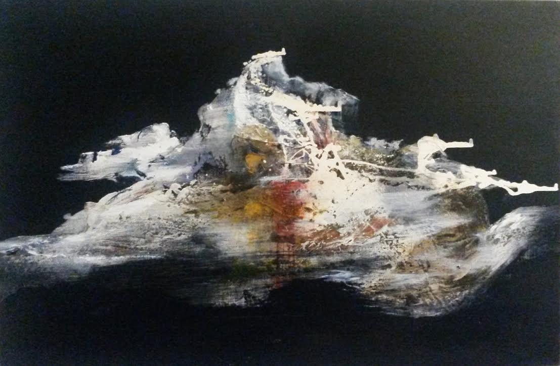 Angelo Bellobono. Floating territory. Acrylic on canvas. 80 x 60 cm.