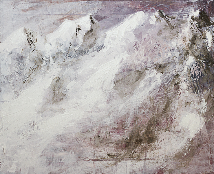 Angelo Bellobono. Temporary mountain range. Acylic and oil on canvas. 41 x 51 cm.