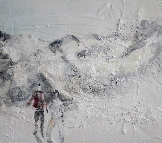 Angelo Bellobono. White territory. Acrylic on wood. 40 x 40 cm.