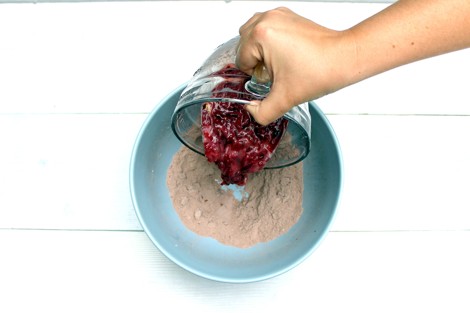 Pour the wet ingredients into the dry