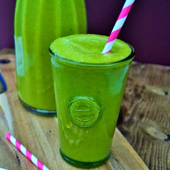 Try this  vibrant green mango and spinach smoothie from     Tinned Tomatoes  .