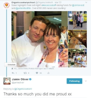 Lucy at the UK Harvest CEO Cook Off with Jamie Oliver