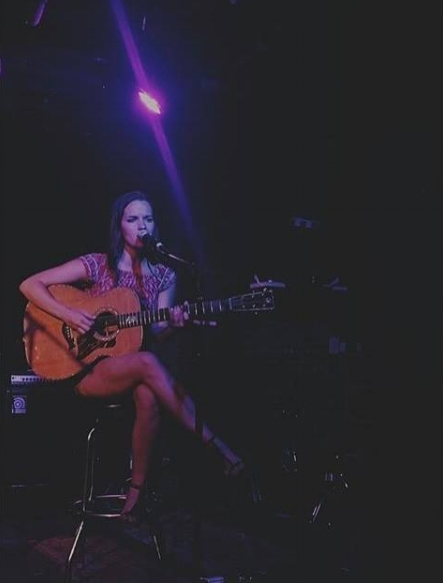 Performing at one of YEP's Songwriter Nights at the Basement.