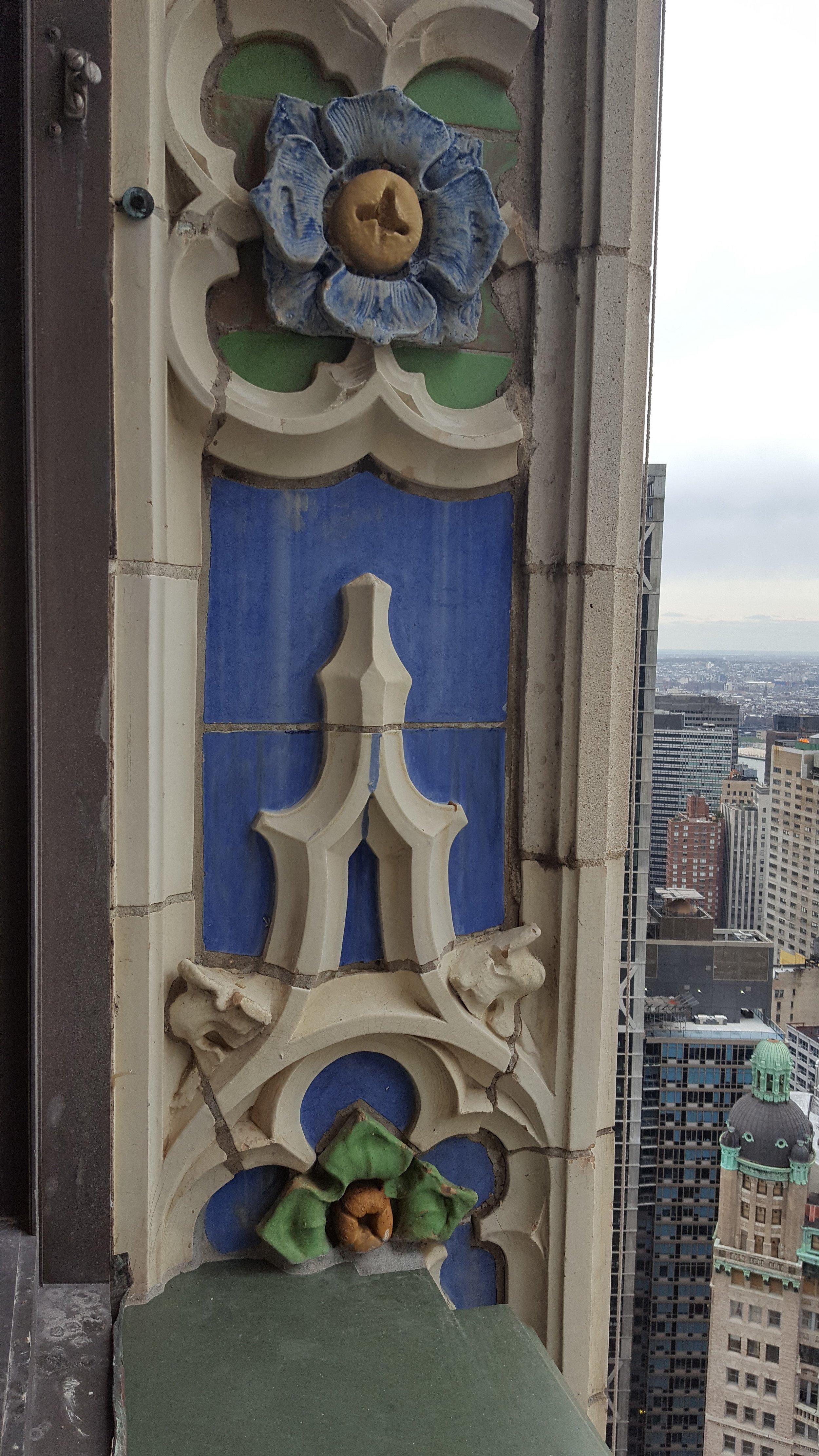 Original glazed terracotta on the 41st floor
