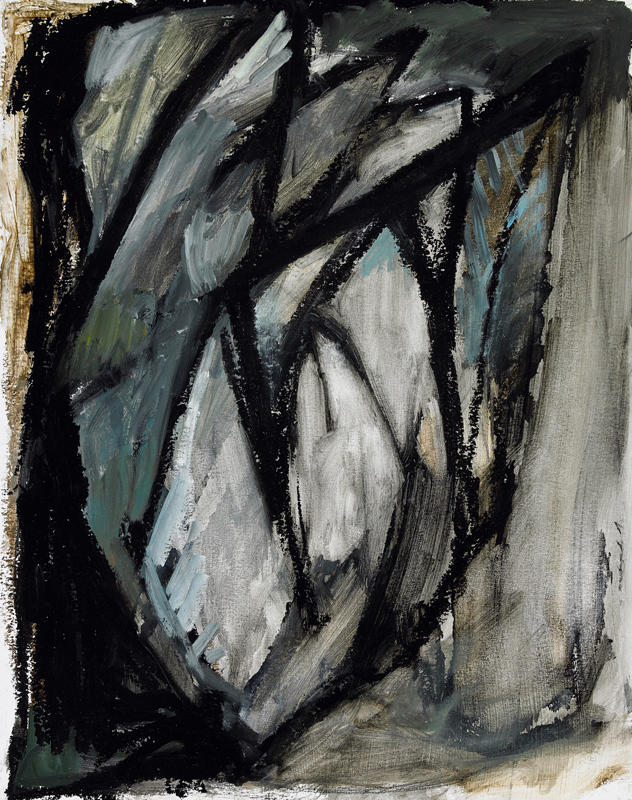 """Dying Bird , oil on paper, 13"""" x 11"""", 2009"""