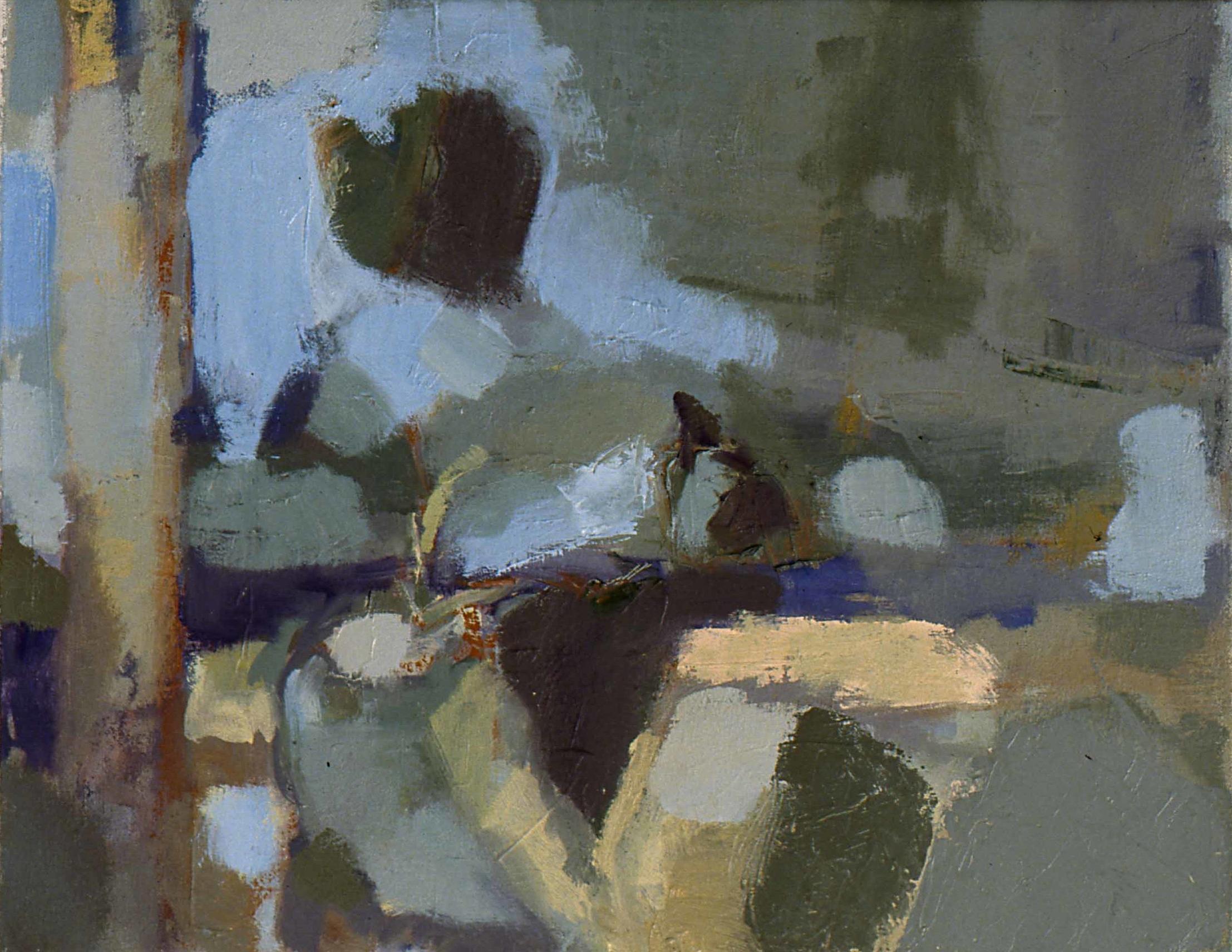 """Windowsill , oil on canvas, 15""""x 19"""", 1997"""