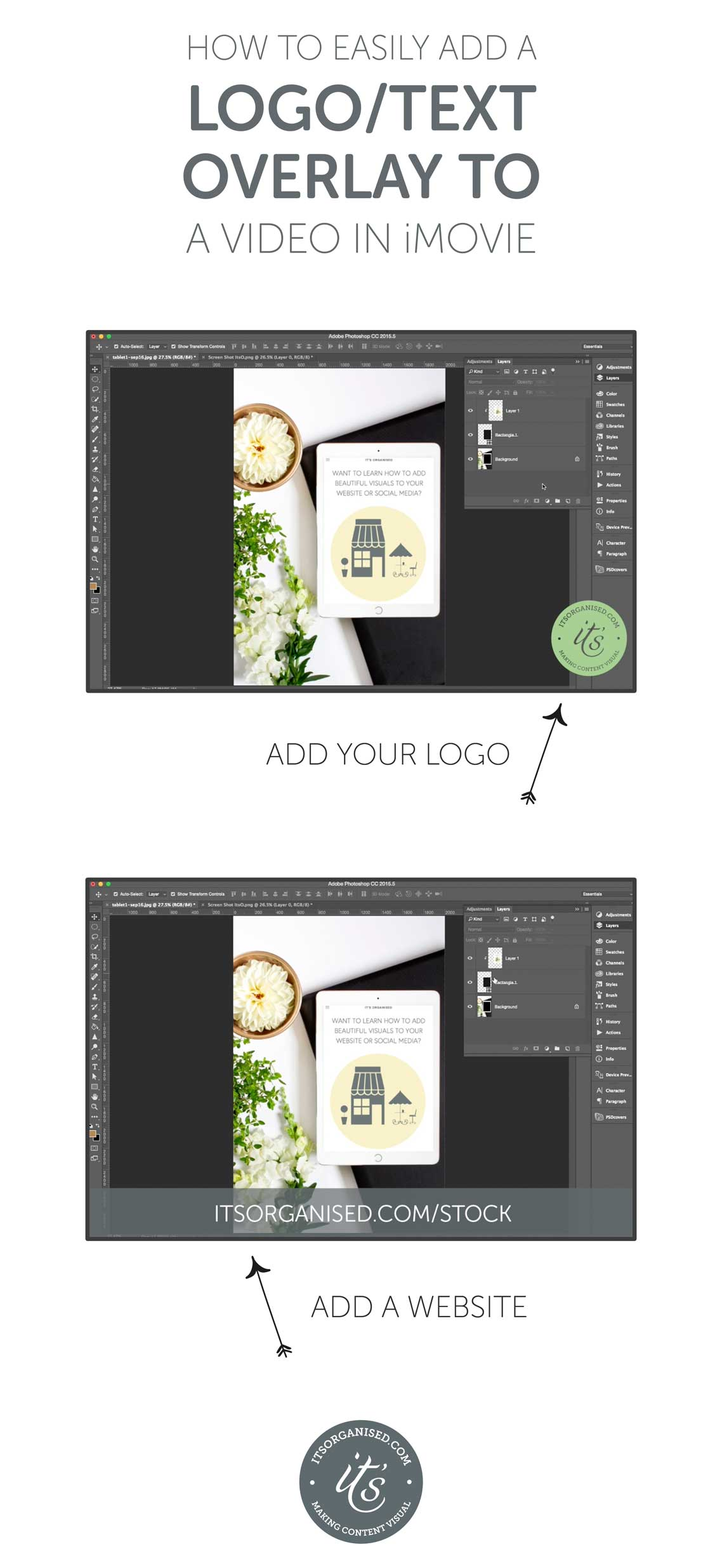 If you make videos and allow others to embed them, it can be really handy to add a logo or some branding to the video.  iMovie allows you to easily add overlays — like logos, web urls, shortened links to landing pages, fun embellishments — to videos. These can appear at any point in the video, and run for any length of time. Today's video will show you who easy it is to add and customise overlays.  itsorganised.com video tutorial