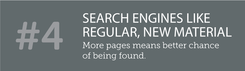 WHY BLOGS ARE SO IMPORTANT TO A SMALL BUSINESS AND ITS ONLINE PRESENCE - #4 SEARCH ENGINES LIKE REGULAR, NEW MATERIAL - more pages means better chance of being found. ITSORGANISED.COM