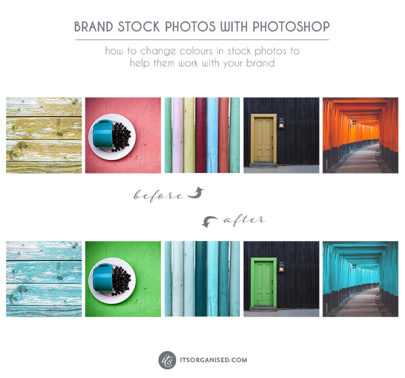 Do you ever find stock photos you'd love to use but...if you could just change one colour, well then it would be perfect?  If you're looking to colour coordinate your Insta feed or get a more branded look to your blog photos, today's Photoshop tutorial is fun to try. itsorganised.com | photoshop video tutorials