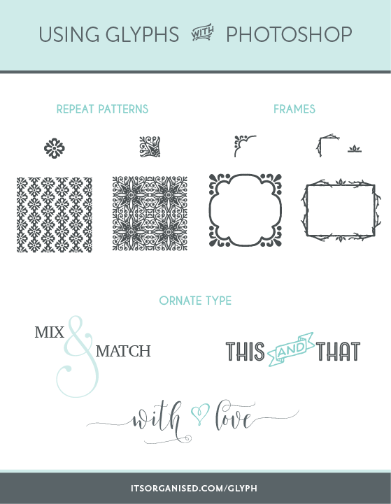 Today's video tutorial will show you how to access and use the glyphs panel in Photoshop.  There are all sorts of lovely letters, shapes, patterns, ornaments and swashes hiding away in your fonts you may not be aware of. I'll show you how to find them and use them so you can add flare to your text or create repeat patterns, frames, logos and borders. itsorganised.com | create great online content for your small business