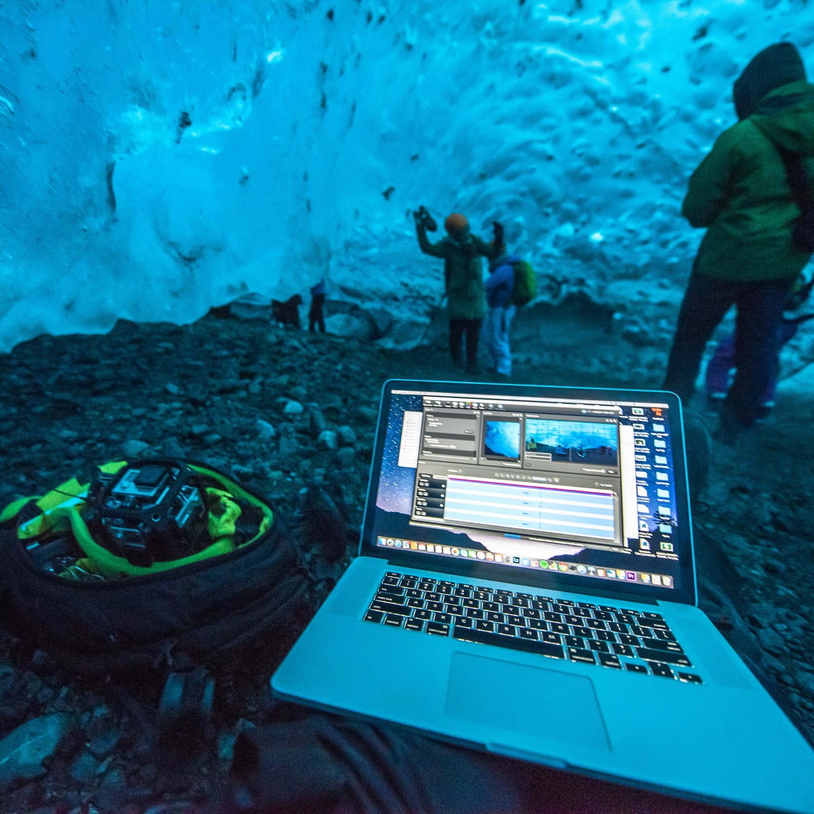 """A MacBook Pro """"stitches"""" video files inside of a glacier in Iceland (Photo by Steve Johnson)."""