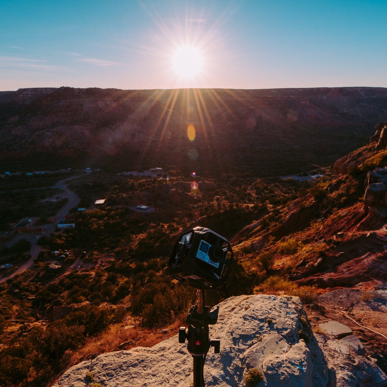 A GoPro 360-degree camera records sunset at the Palo Duro Canyon State Park in Texas (Photo by Steve Johnson).
