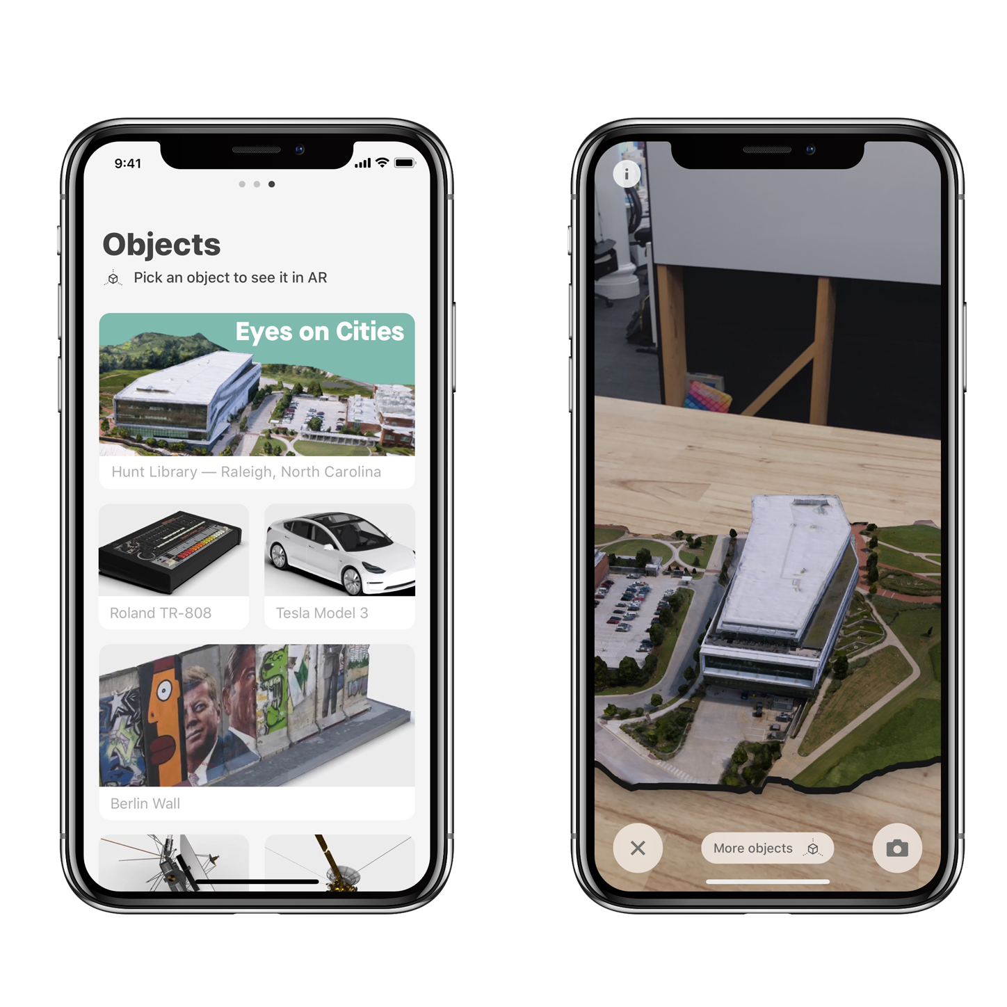 A screenshot from the Quartz iOS app on the iPhone X showing how we can place entire buildings on a tabletop.