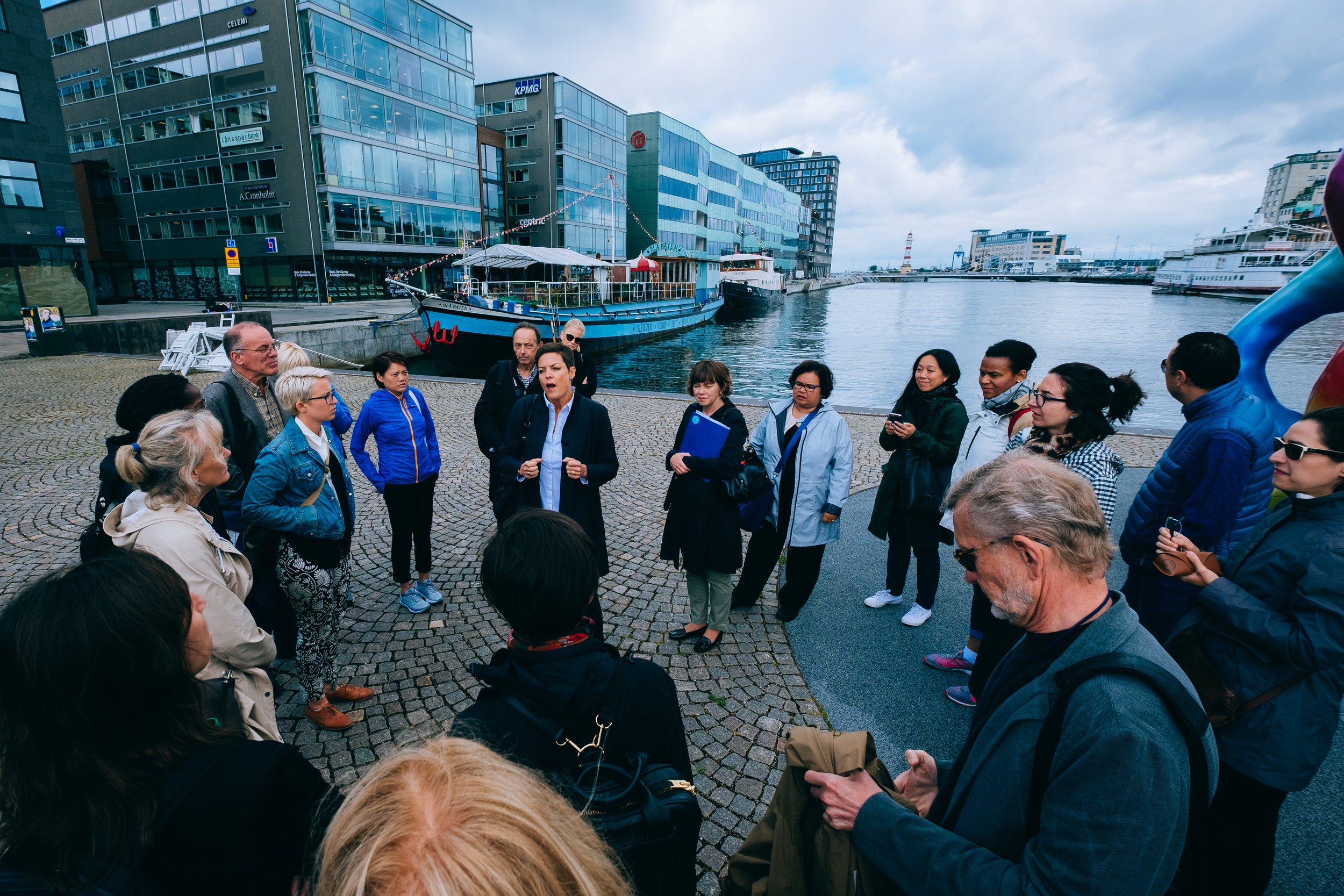 A walking tour of Copenhagen during an educational trip sponsored by The Robert Wood Johnson Foundation.